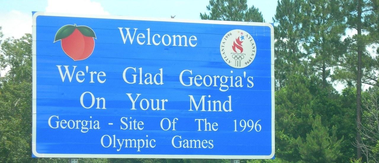 Panneau d'entrée en Géorgie (Etats-Unis