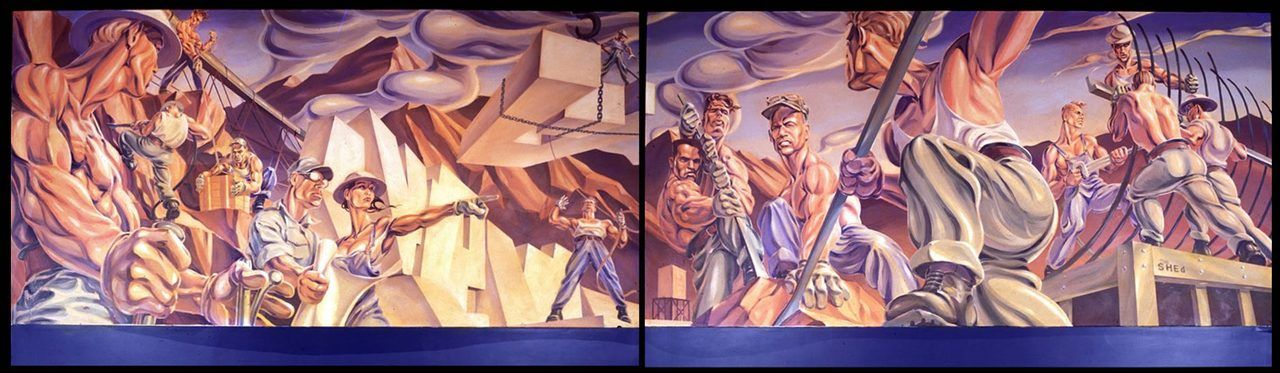 Fresque murale monumentale réalisée par Andrew Reid pour le WPA, sauvée et présentée dans la galerie de Walt Grace Vintage, à Wynwood, durant tout l'été ( à partir du mois de Mai).