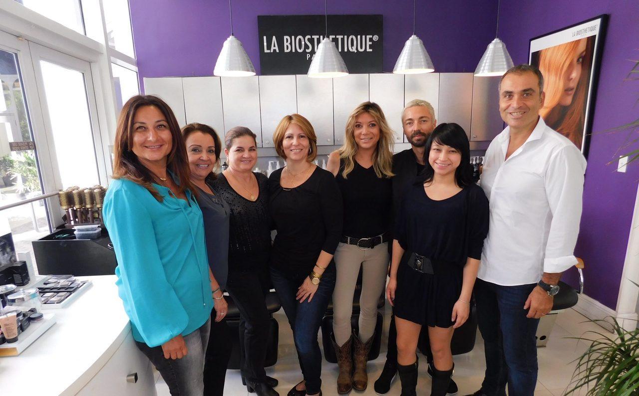 L'équipe du French Hair Studio de Miami-Brickell (Dorothée et Gad sont aux deux bouts)