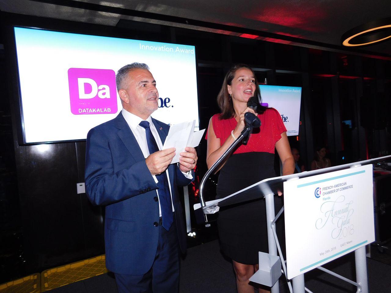 Alain Ouelhadj et Pascale Villet, pdt et directrice de la FACC Miami, lors du gala 2018
